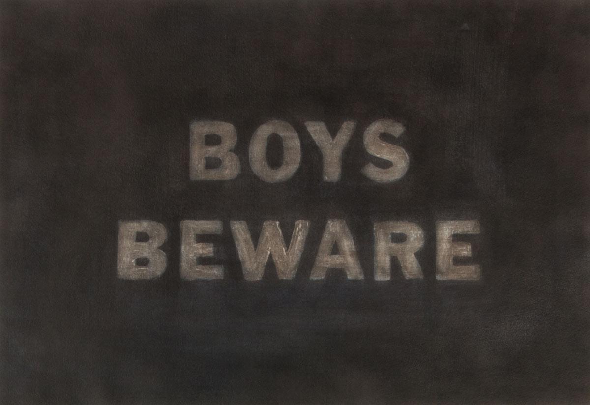 boys beware, Acryl, Tusche auf Papier, 2016, Dominik Geis