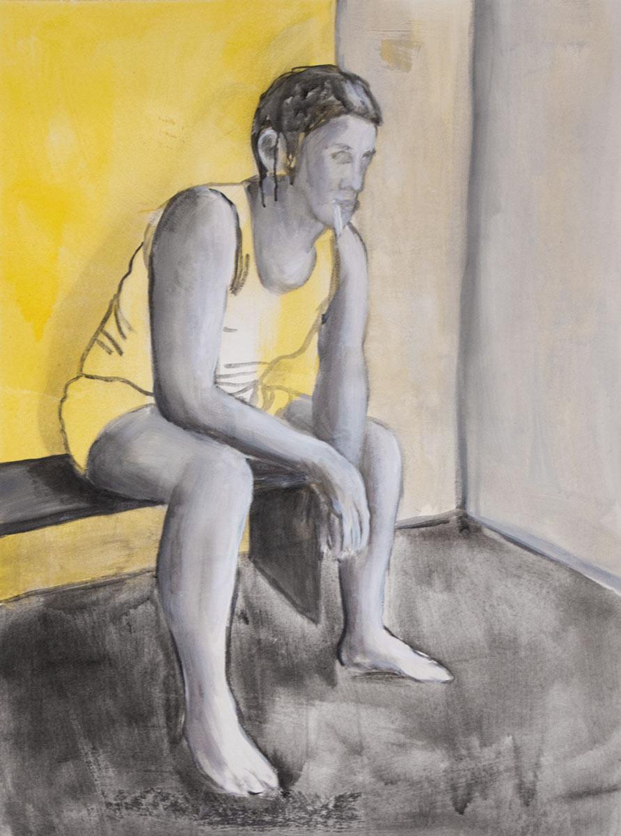 Mann, rauchend, Acryl, 86 x 68 cm, Tusche auf Papier, 2016, Dominik GEis
