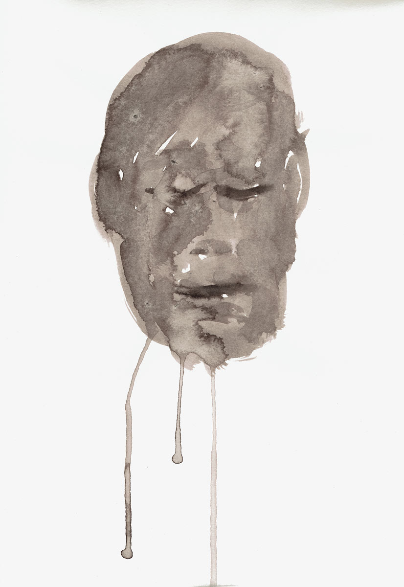 o.T. (Gesicht), Tusche auf Papier, 21 x 16 cm, 2016, Dominik Geis