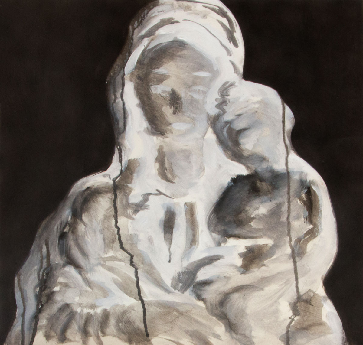o.T. (madonna), Acryl, Tusche auf Papier, 2016, Dominik Geis