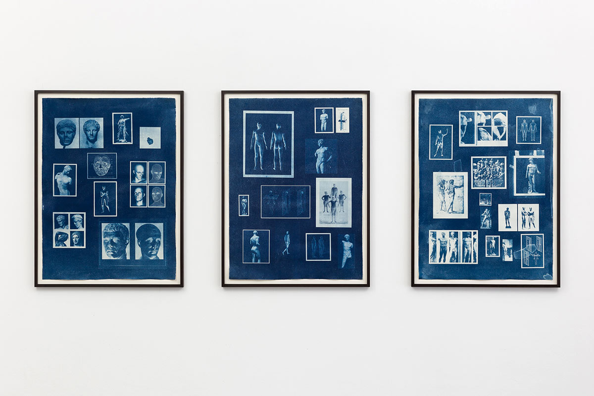 Tableau 1, Tableau 2 und Tableau 3, Cyanotypie auf Büttenpapier, Dominik Geis